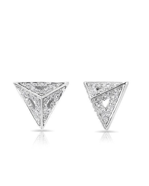 Anne Sisteron - Multicolor 14kt White Gold Diamond Pyramid Triangle Cutout Stud Earrings - Lyst