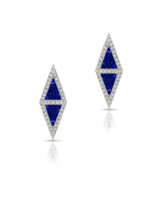 Anne Sisteron | Blue 14kt White Gold Lapis Diamond Double Triangle Stud Earrings | Lyst