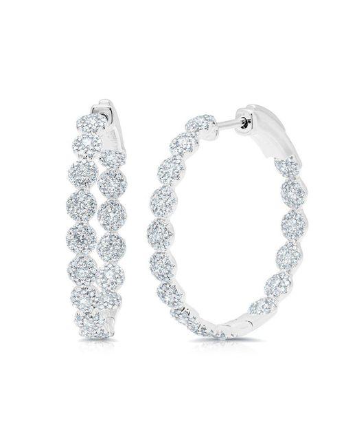 "Anne Sisteron - Multicolor 14kt White Gold Diamond Ellie 1.15"" Hoops - Lyst"