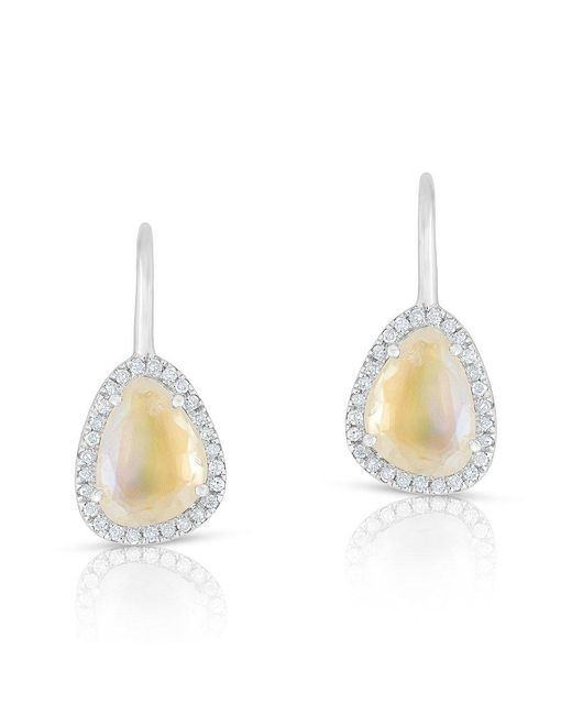 Anne Sisteron - Metallic 14kt White Gold Diamond Moonstone Organic Wireback Earrings - Lyst