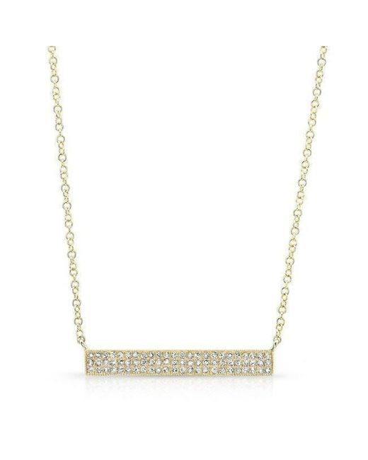 Anne Sisteron - Metallic 14kt Yellow Gold Diamond Wide Bar Necklace - Lyst