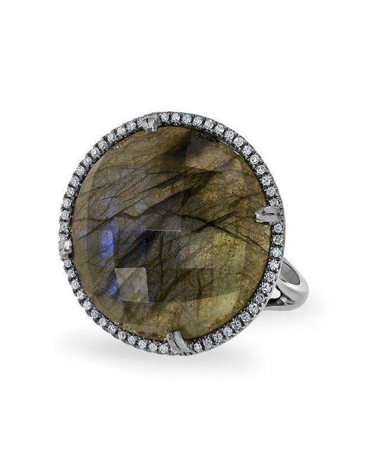 Anne Sisteron - Metallic 14kt Oxidized White Gold Labradorite Diamond Round Cocktail Ring - Lyst