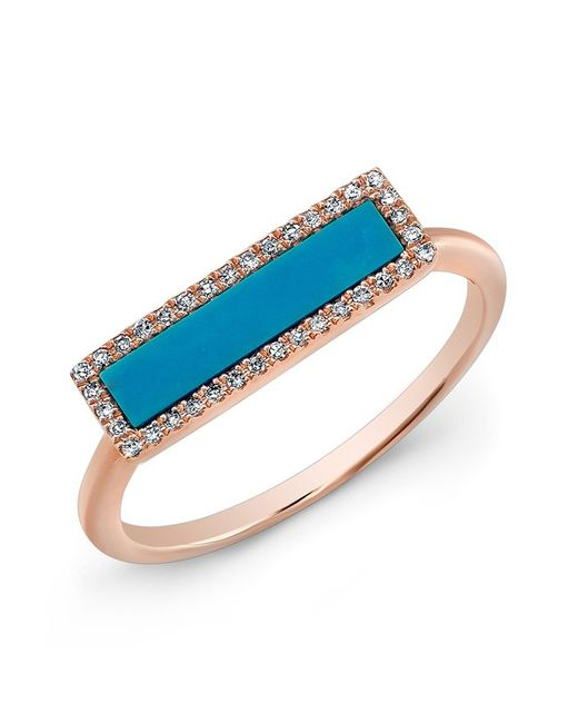 Anne Sisteron | Metallic 14kt Rose Gold Turquoise Diamond Bar Ring | Lyst