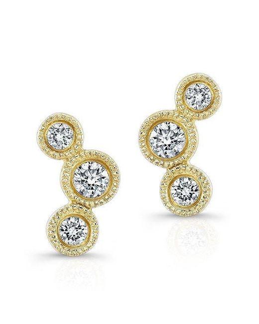 Anne Sisteron - Metallic 14kt Yellow Gold Bezel Set Diamond Hazel Earrings - Lyst