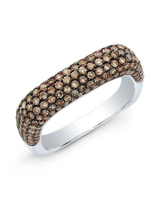 Anne Sisteron | Metallic 14kt White Gold Champagne Diamond Square Ring | Lyst