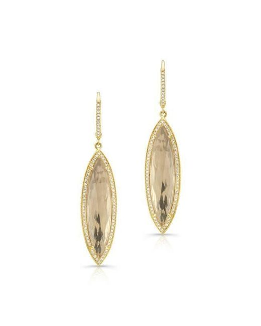 Anne Sisteron - Metallic 14kt Yellow Gold Diamond White Topaz Serena Marquis Earrings - Lyst