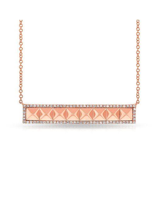 Anne Sisteron - Metallic 14kt Rose Gold Diamond Pyramid Bar Necklace - Lyst