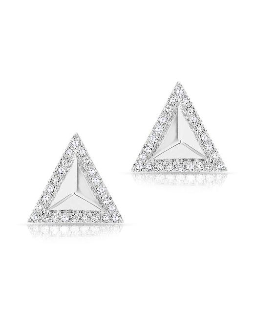 Anne Sisteron - 14kt White Gold Diamond Triangle Pyramid Stud Earrings - Lyst