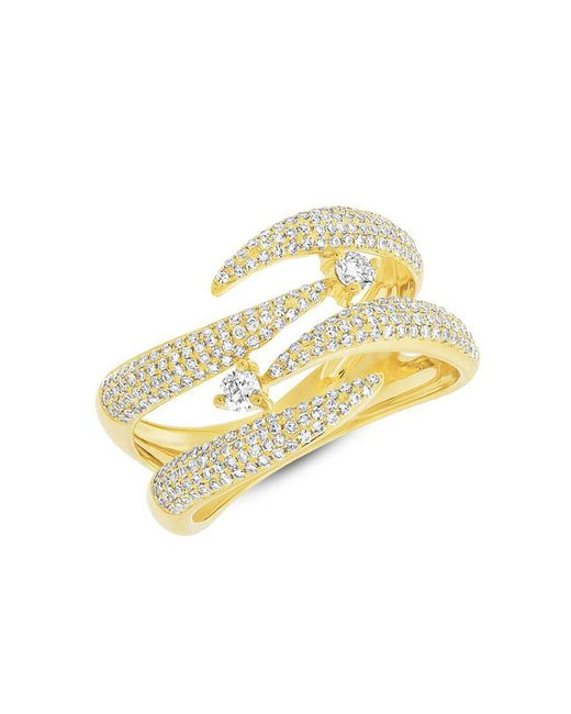 Anne Sisteron - Metallic 14kt Yellow Gold Diamond Small Flame Tip Ring - Lyst