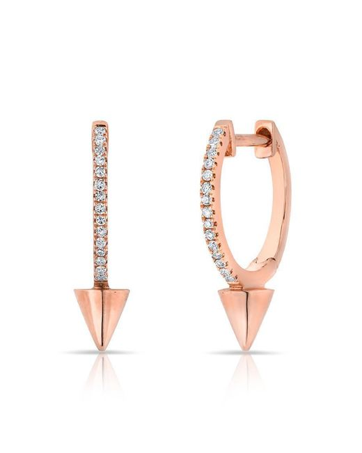 Anne Sisteron - Multicolor 14kt Rose Gold Diamond Spike Nia Huggie Earrings - Lyst