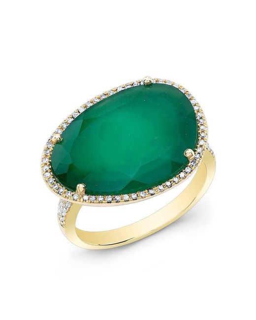 Anne Sisteron | 14kt Yellow Gold Green Onyx Organic Diamond Cocktail Ring | Lyst