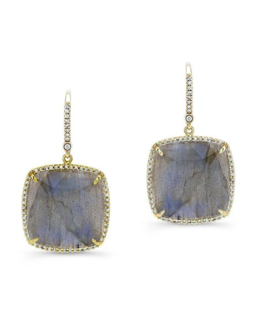Anne Sisteron - 14kt Yellow Gold Labradorite Diamond Cushion Cut Earrings - Lyst