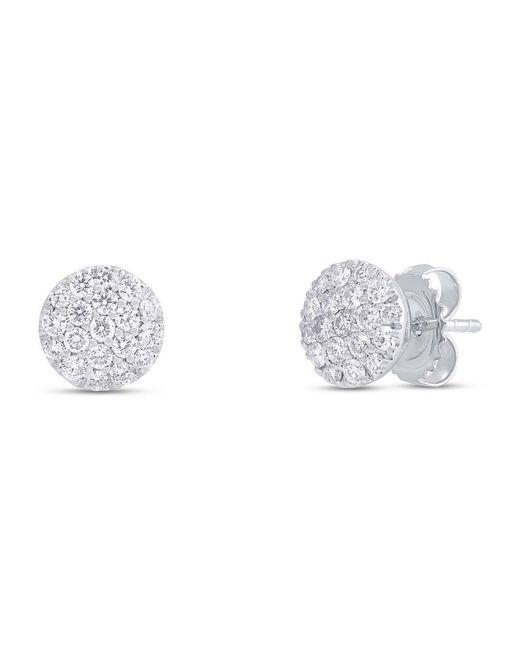 Anne Sisteron - Metallic 14kt White Gold Diamond Medium Disc Stud Earrings - Lyst
