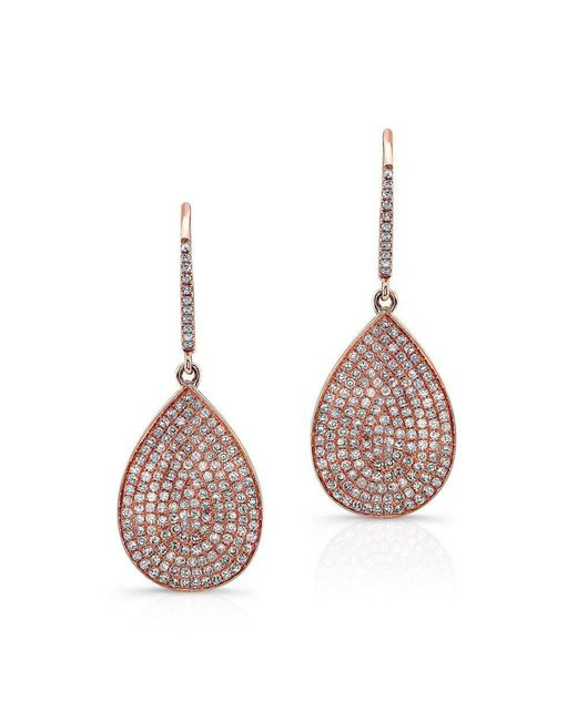 Anne Sisteron - Multicolor 14kt Rose Gold Diamond Medium Pear Shaped Earrings - Lyst