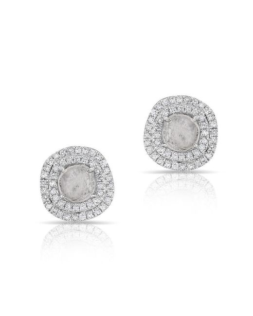 Anne Sisteron - Multicolor 14kt White Gold Diamond Slice Double Halo Stud Earrings - Lyst