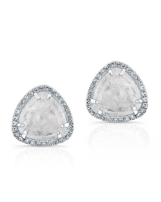 Anne Sisteron - Metallic 14kt White Gold Diamond Moonstone Stud Earrings - Lyst