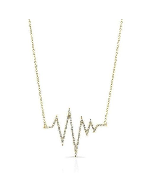 Anne Sisteron | Metallic 14kt Yellow Gold Diamond Heartbeat Necklace | Lyst