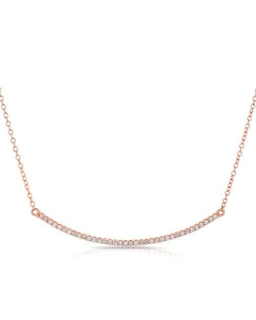 Anne Sisteron - Metallic 14kt Rose Gold Diamond Lash Crescent Necklace - Lyst