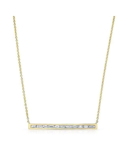 Anne Sisteron - Metallic 14kt Yellow Gold Diamond Baguette Thin Bar Necklace - Lyst