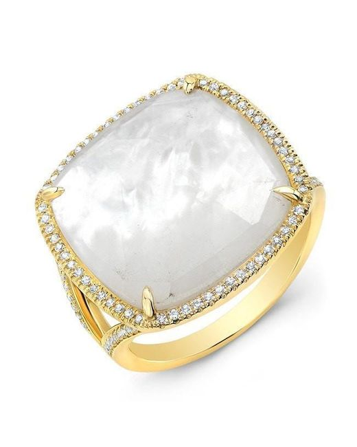 Anne Sisteron | Metallic 14kt Yellow Gold Mother Of Pearl Diamond Doublet Ring | Lyst