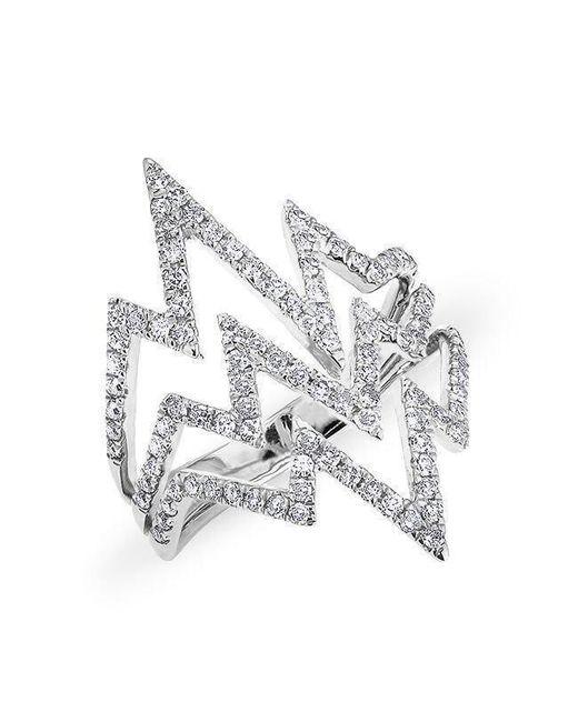 Anne Sisteron - Metallic 14kt White Gold Diamond Triple Heartbeat Ring - Lyst