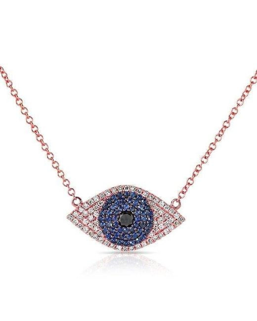 Anne Sisteron - 14kt Rose Gold Blue Sapphire Diamond Evil Eye Necklace - Lyst