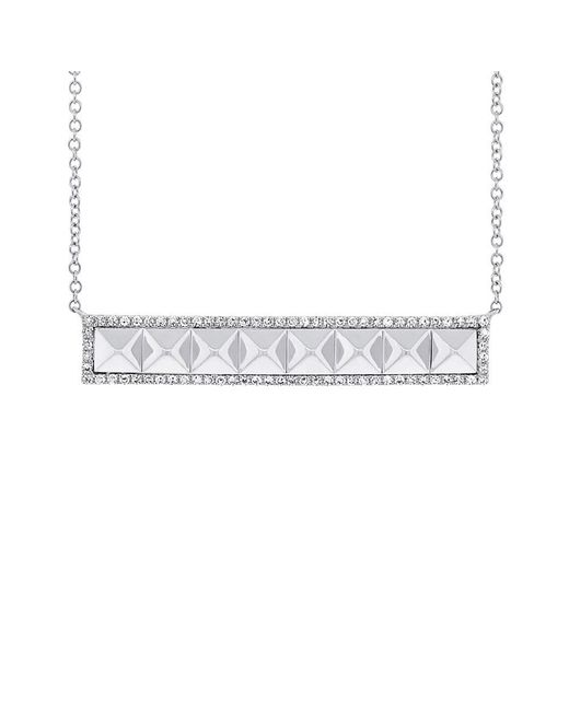 Anne Sisteron - 14kt White Gold Diamond Pyramid Bar Necklace - Lyst