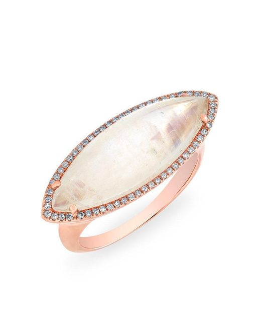 Anne Sisteron - Multicolor 14kt Rose Gold Diamond Moonstone Marquis Ring - Lyst