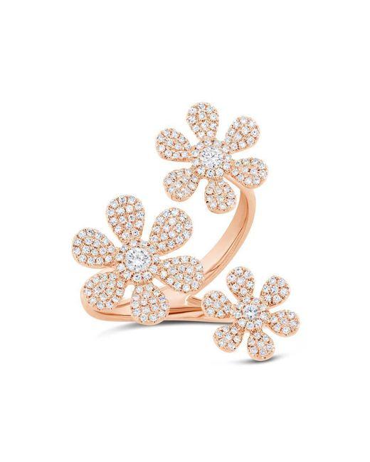Anne Sisteron - Multicolor 14kt Rose Gold Diamond Floating Triple Daisy Flower Ring - Lyst