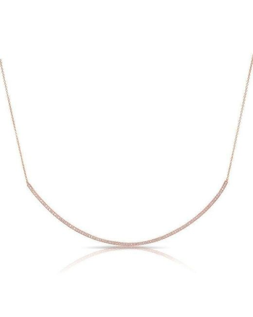Anne Sisteron | Metallic 14kt Rose Gold Diamond Long Thin Crescent Necklace | Lyst