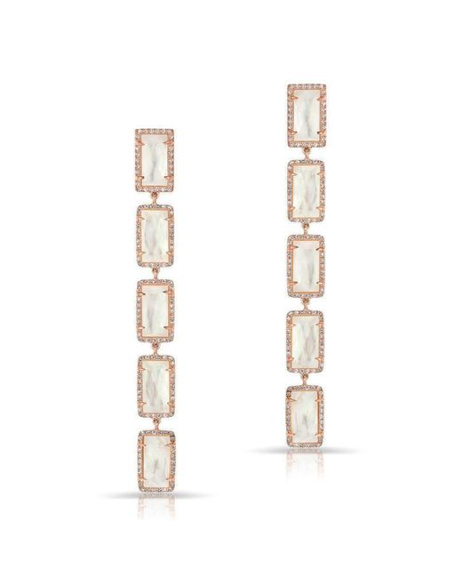 Anne Sisteron - Metallic 14kt Rose Gold Mother Of Pearl Diamond Five Rectangle Drops Shandi Earrings - Lyst