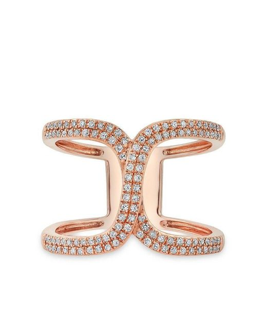 Anne Sisteron - Pink 14kt Rose Gold Diamond Double Horseshoe Ring - Lyst