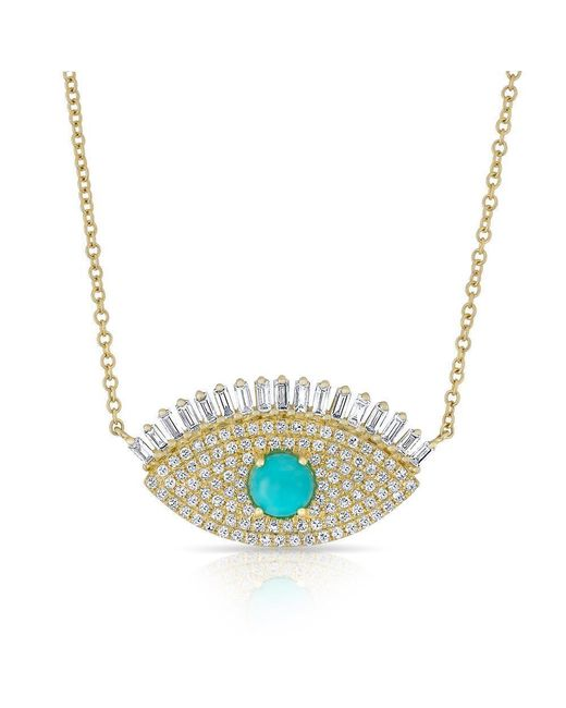 Anne Sisteron | Metallic 14kt Yellow Gold Baguette Diamond And Turquoise Gypsy Necklace | Lyst