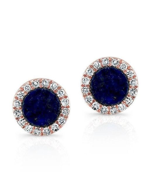 Anne Sisteron - Blue 14kt Rose Gold Lapis Lazuli Diamond Round Stud Earrings - Lyst
