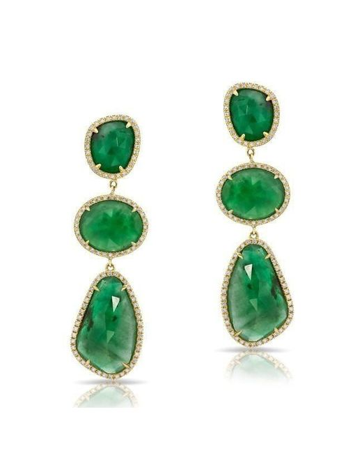 Anne Sisteron - Green 14kt Yellow Gold Emerald Diamond Organic Triple Drop Earrings - Lyst