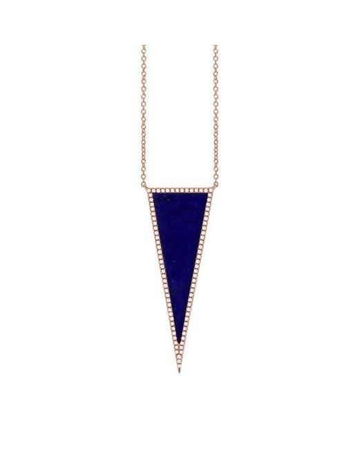 Anne Sisteron - Blue 14kt Rose Gold Diamond Lapis Triangle Necklace - Lyst