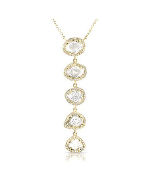 Anne Sisteron - Metallic 14kt Yellow Gold Diamond Slice Drop Necklace - Lyst