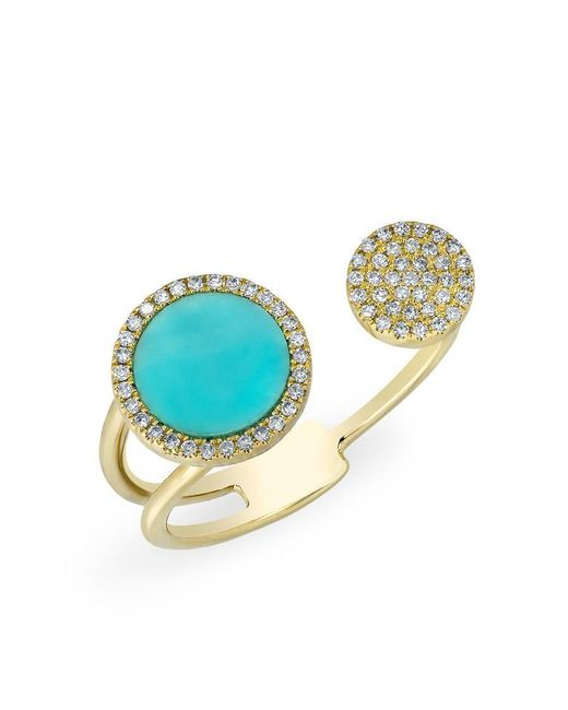 Anne Sisteron - Multicolor 14kt Yellow Gold Diamond Turquoise Disc Nikki Ring - Lyst