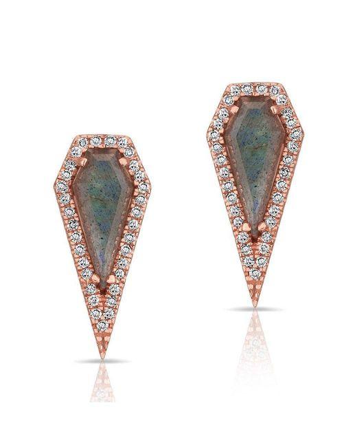 Anne Sisteron - Multicolor 14kt Rose Gold Labradorite Diamond Shield Earrings - Lyst