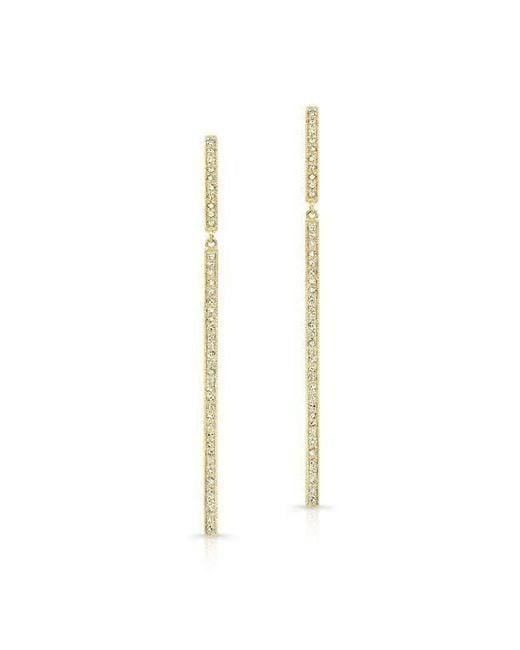 Anne Sisteron | Metallic 14kt Yellow Gold Diamond Long Bar Earrings | Lyst