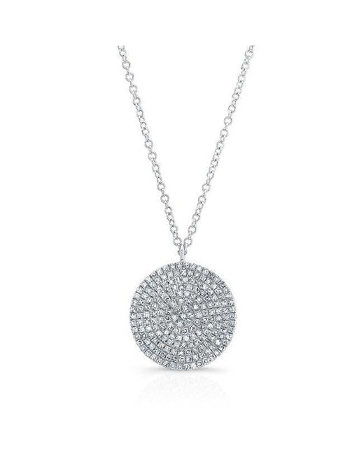 Anne Sisteron | Metallic 14kt White Gold Large Diamond Disc Necklace | Lyst