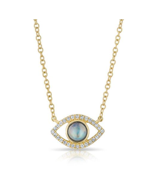 Anne Sisteron - Metallic 14kt Yellow Gold Diamond Open Moonstone Evil Eye Sukie Necklace - Lyst