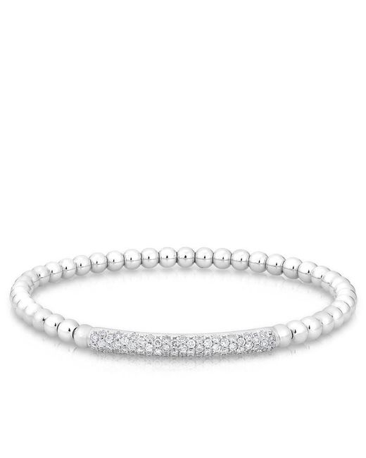 Anne Sisteron | Metallic 14kt White Gold Diamond Ball Stretch Bangle Bracelet | Lyst