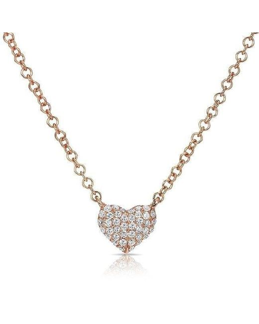 Anne Sisteron - Metallic 14kt Rose Gold Diamond Mini Heart Necklace - Lyst