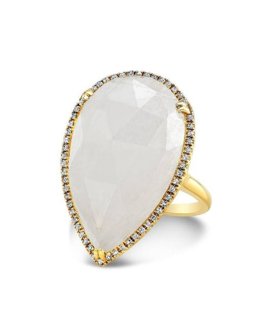 Anne Sisteron - White 14kt Yellow Gold Moonstone Diamond Pear Shaped Cocktail Ring - Lyst