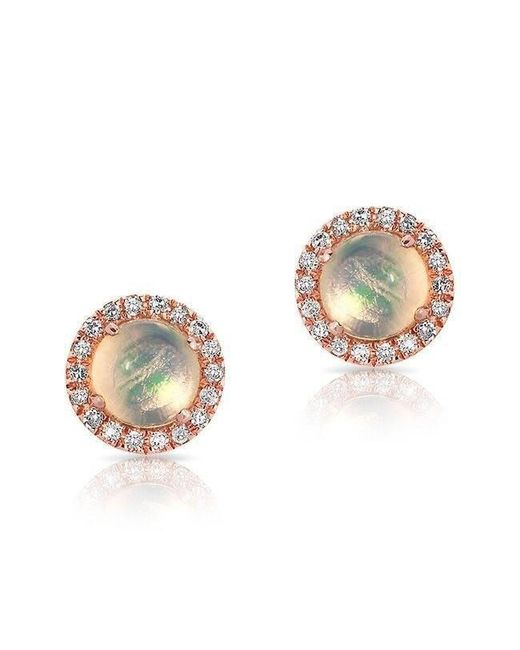 Anne Sisteron - Multicolor 14kt Rose Gold Mini Round Opal Diamond Stud Earrings - Lyst