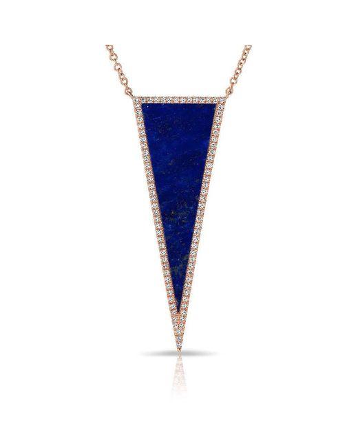 Anne Sisteron | Blue 14kt Rose Gold Diamond Lapis Triangle Necklace | Lyst