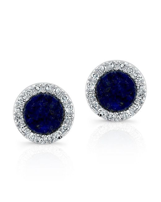 Anne Sisteron - Blue 14kt White Gold Lapis Lazuli Diamond Round Stud Earrings - Lyst
