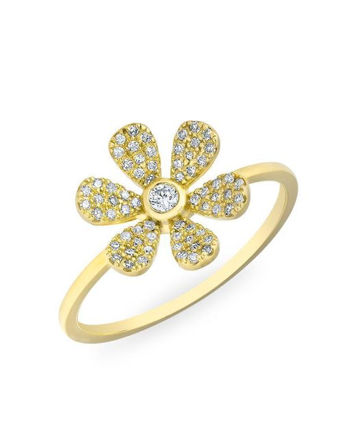 Anne Sisteron - Metallic 14kt Yellow Gold Diamond Single Daisy Ring - Lyst