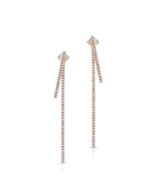 Anne Sisteron | Metallic 14kt Rose Gold Diamond Double Bar Earrings | Lyst